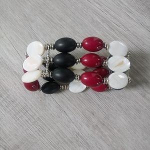👑Cuff black white stone beaded wide bracelet